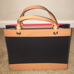Kate Spade Leather and Linen Open Satchel